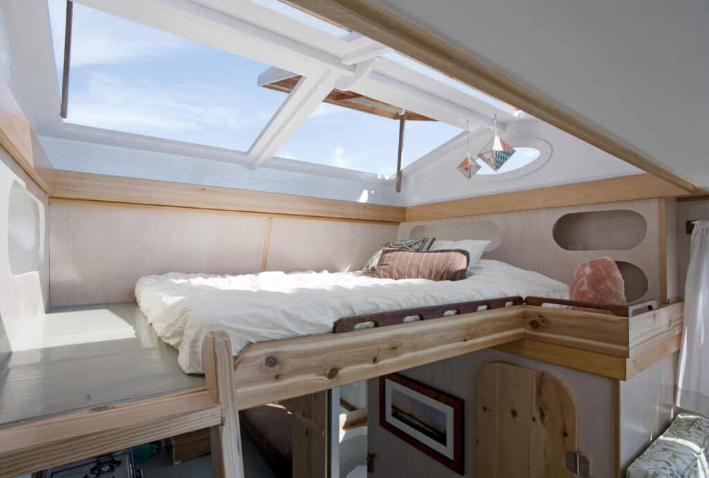 Floating Camp Nomad Sleeping Loft with pop up hatches on Rangeley Lake