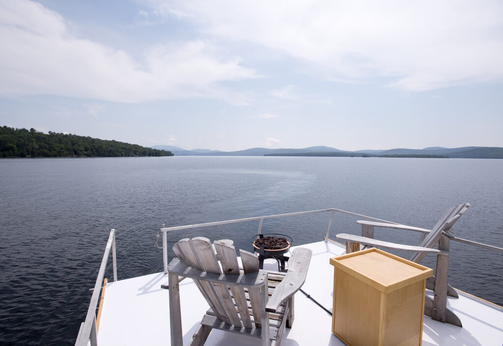 Floating Camp Nomad Upper Viewing Deck on Rangeley Lake